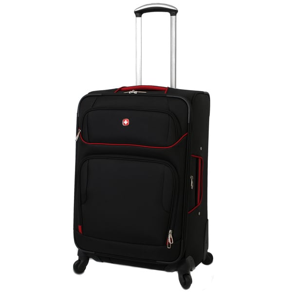 SwissGear Black/Red 24-inch Expandable Lightweight Spinner Upright ...