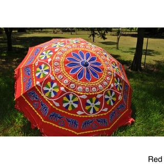 Large Adjustable Hand-Embroidered Umbrella (India)