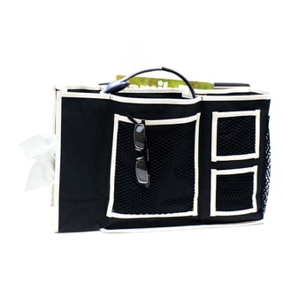 Florida Brands Black 3-Pocket Bedside Caddy with Tissue Box Holder
