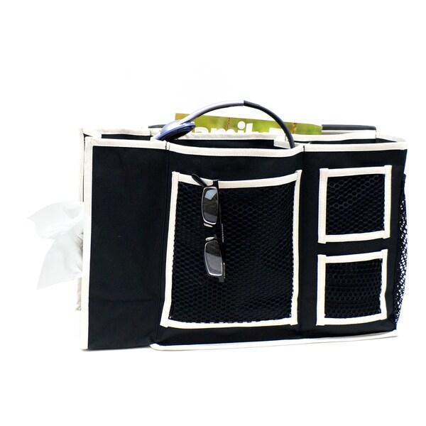 Florida Brands Black 3-Pocket Bedside Caddy with Tissue Box Holder