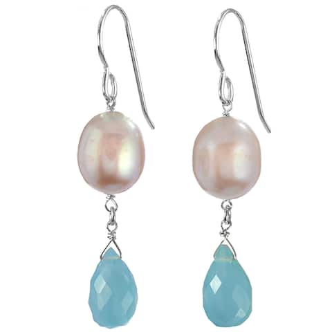 Blue Aqua Chalcedony Gemstone, Pink FW Pearl Silver Earrings