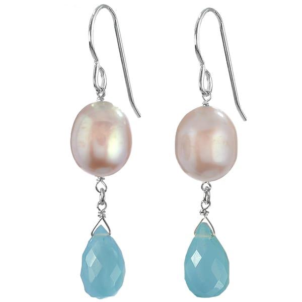 Blue Aqua Chalcedony Gemstone, Pink FW Pearl Silver Earrings. Opens flyout.