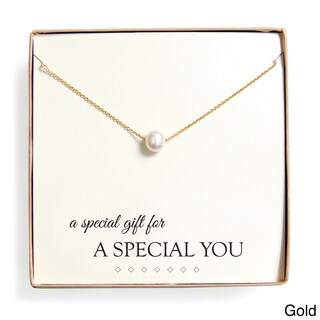 'Special Gift' Floating Freshwater Pearl Necklace Gift Set (Option: Gold - Yellow)