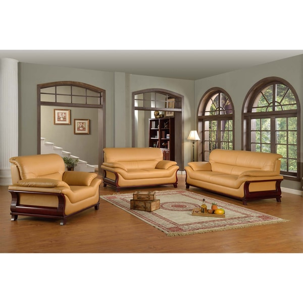 Kalina bonded leather modern set free shipping today for Leather living room furniture sets sale