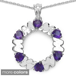 Sterling Silver Gemstone Heart 'Mom' Necklace