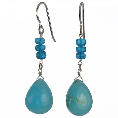 Rare Gemstone Earrings, Hemimorphite, Apatite Silver Dangle Earrings