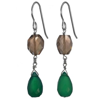 Handmade Ashanti Silver Emerald Green Chalcedony Briolette/ Smoky Quartz Earrings (Sri Lanka)