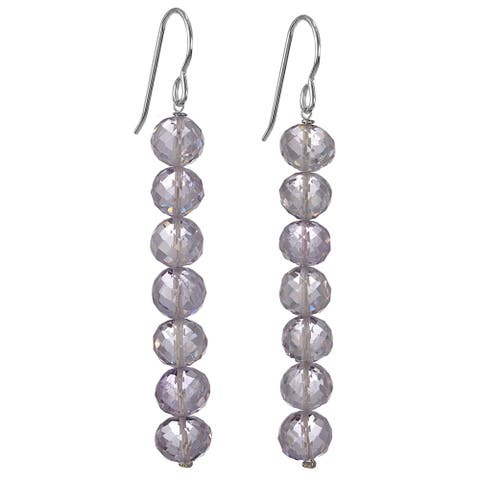Pink Amethyst Silver Handmade Earrings