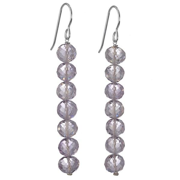 Ashanti Handmade Silver Pink Amethyst Earrings (Sri Lanka)