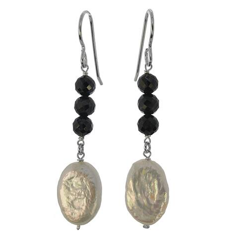 Handmade Silver Coin Pearl and Black Spinel Gemstone Earrings