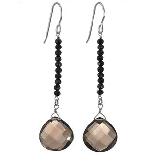 Handmade Ashanti Silver Smokey Quartz/ Black Spinel Earrings (Sri Lanka)
