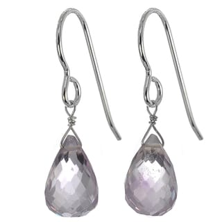 Handmade Ashanti Silver Pink Amethyst Earrings (Sri Lanka)