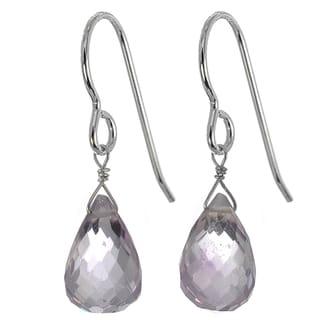 Ashanti Silver Pink Amethyst Earrings (Sri Lanka)