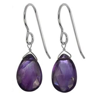 Amethyst Faceted Briolette Handmade Sterling Silver Earrings. Ashanti Jewels - Purple