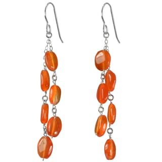 Ashanti Silver Cascading Carnelian Earrings (Sri Lanka)