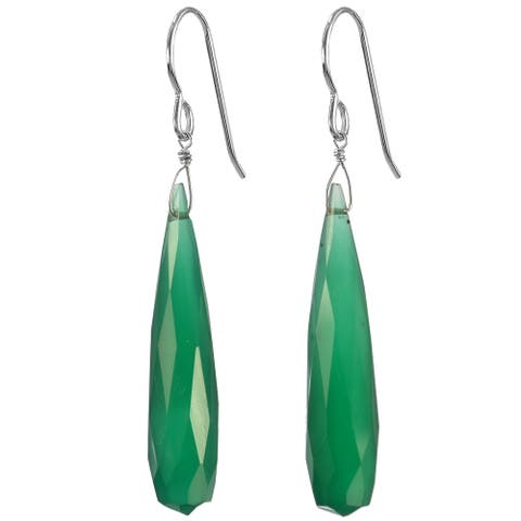 Fine Green Chalcedony Briolette Silver Handmade Earrings