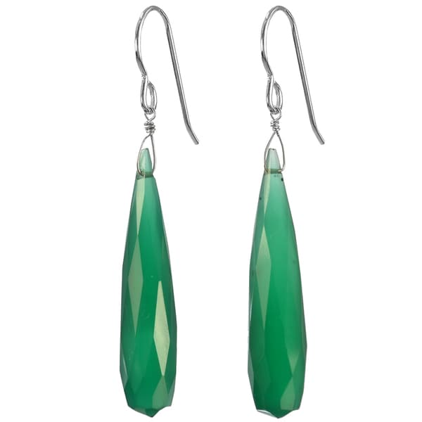 Handmade Ashanti Silver Fine Green Chalcedony Faceted Briolette Earrings (Sri Lanka)