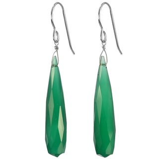 Ashanti Silver Fine Green Chalcedony Faceted Briolette Earrings (Sri Lanka)