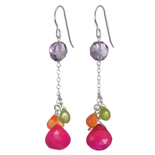 Ashanti Silver Hot Pink Chalcedony, Amethyst, Carnelian Peridot Earrings (Sri Lanka)