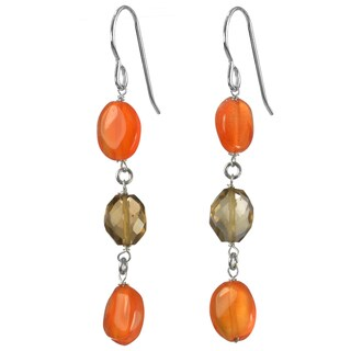 Ashanti Silver Carnelian/ Smokey Quartz Earrings (Sri Lanka)