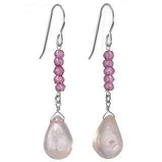 Ashanti Silver Rose Quartz/ Pink Quartz Gemstone Earrings (Sri Lanka)