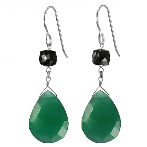 Emerald Green Chalcedony Briolette, Black Spinel Silver Earrings