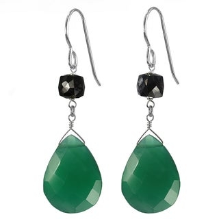 Ashanti Silver Emerald Green Chalcedony Briolette/ Black Spinel Earrings (Sri Lanka)