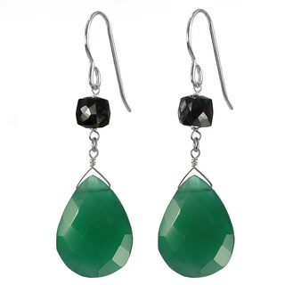 Emerald Green Chalcedony Briolette, Black Spinel Sterling Silver Earrings. Ashanti Jewels