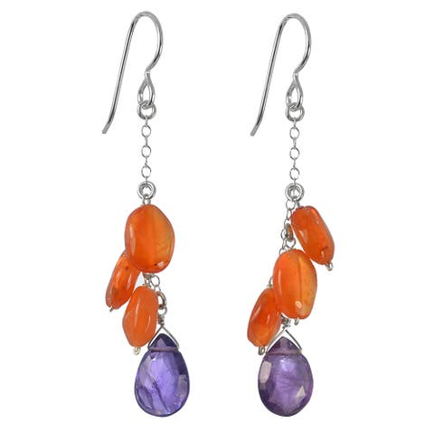 Amethyst, Carnelian Gemstone Silver Earrings