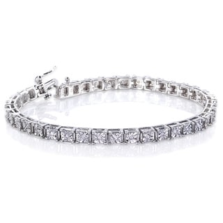Annello by Kobelli Sterling Silver 1/2ct TDW Illusion Set Diamond Tennis Bracelet