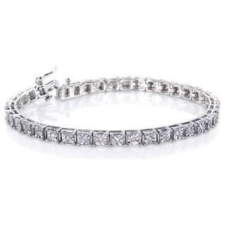 Annello by Kobelli Sterling Silver 1/2ct TDW Illusion Set Diamond Tennis Bracelet