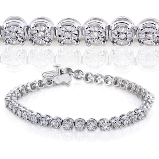 Annello by Kobelli Sterling Silver 1/2ct TDW Round Diamond Bracelet