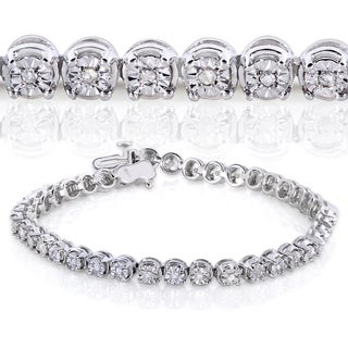 Annello by Kobelli Sterling Silver 1/2ct TDW Round Diamond Bracelet (H-I, I2-I3)