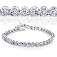 Annello by Kobelli Sterling Silver 1/2ct TDW Round Diamond Bracelet