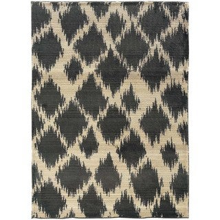 Old World Tribal Ivory/Gray Contemporary Rug (5'3 x 7'6)