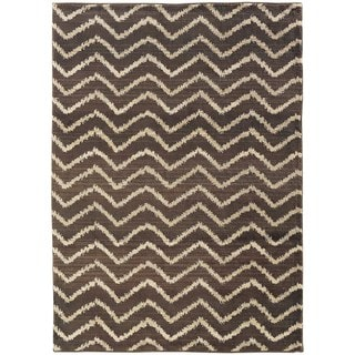 Old World Brown/ Ivory Tribal Area Rug (9'9 x 12'2)