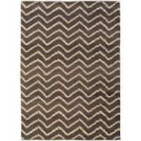 Old World Brown/ Ivory Tribal Area Rug - 9'9 x 12'2