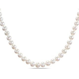 Miadora Sterling Silver White Cultured Freshwater Pearl Strand Necklace (8-9 mm)
