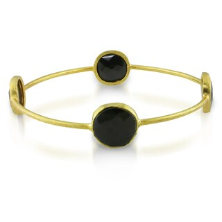 Miadora 22k Yellow Gold-plated Synthetic Onyx Bangle