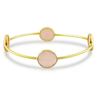 M by Miadora 22k Yellow Goldplated Synthetic Rose Quartz Bangle