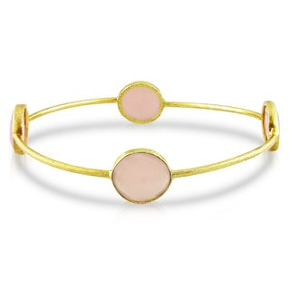 Miadora 22k Yellow Gold-plated Synthetic Rose Quartz Bangle