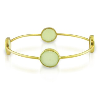 Miadora 22k Yellow Gold-plated Synthetic Green Chalcedony Bangle
