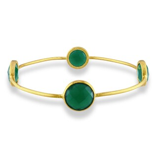 M by Miadora 22k Yellow Goldplated Green Onyx Bangle