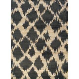 Old World Tribal Ivory/ Grey Rug (7'10 x 10'10)