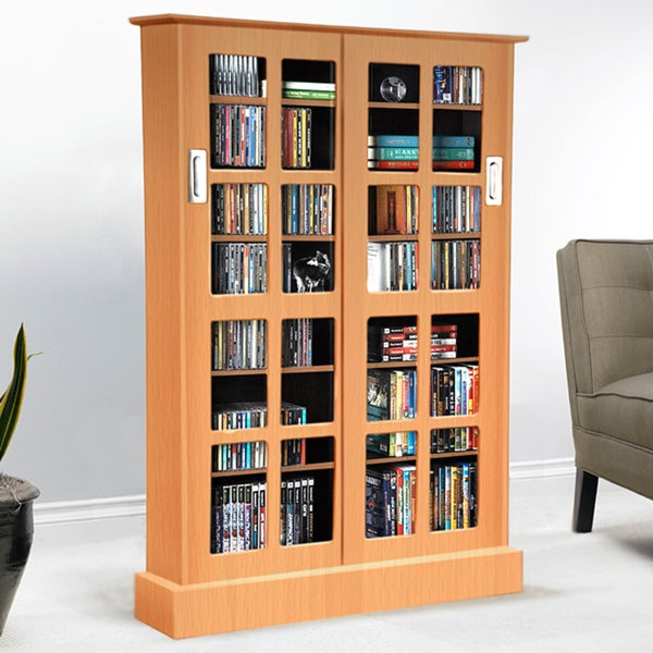 Shop Atlantic Windowpane Media Cabinet With Sliding Glass Doors