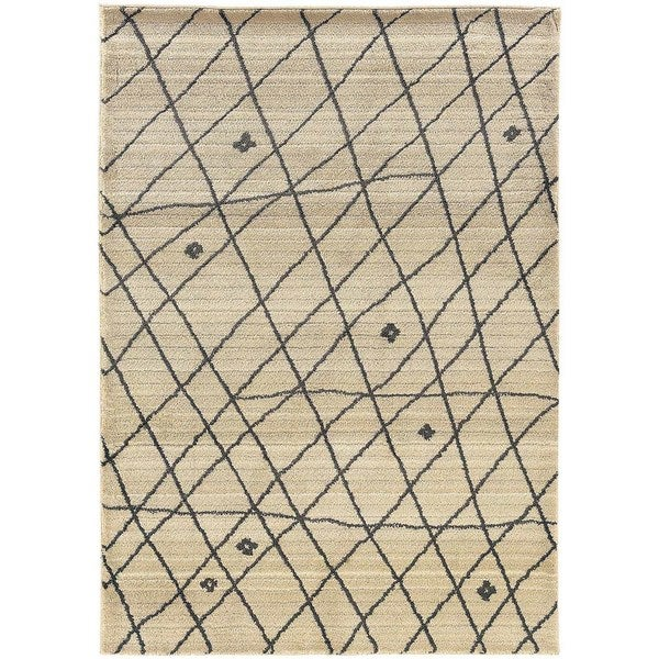 Pine Canopy Nicolet Tribal Ivory/Brown Area Rug - 5'3' x 7'6'