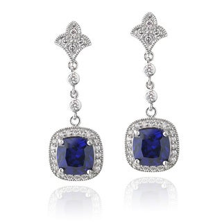 Icz Stonez Sterling Silver Blue Cubic Zirconia Square Dangle Earrings