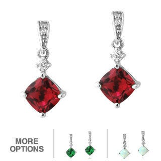 Glitzy Rocks Sterling Silver Gemstone and CZ Diamond-shaped Earrings