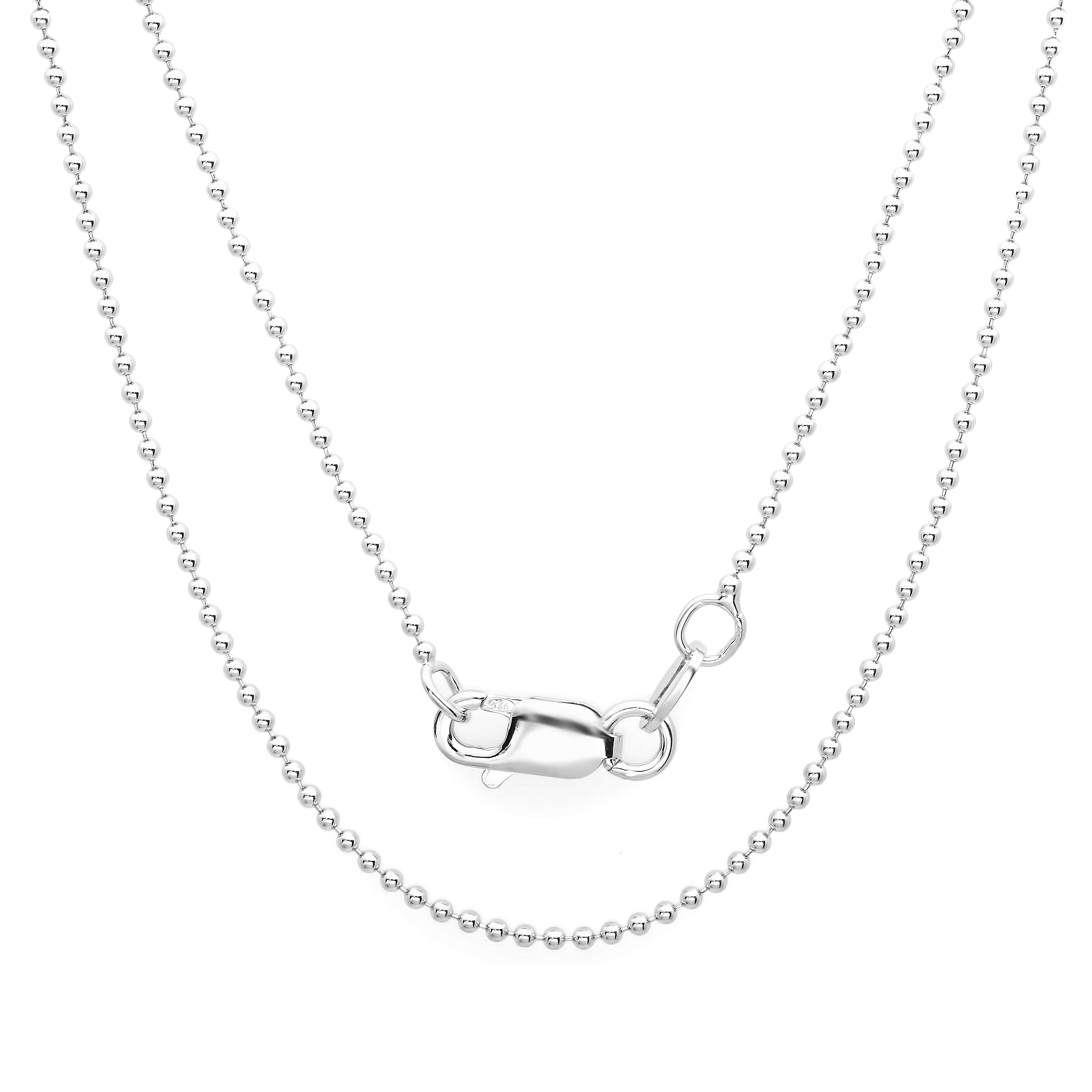 Solid 925 Sterling Silver 1.25mm Beaded Chain Necklace