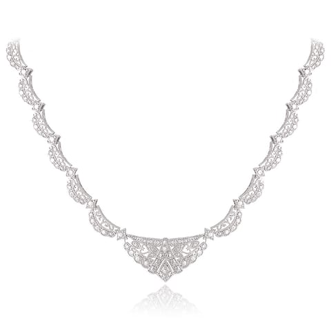 DB Designs Silvertone Diamond Accent Fashion Riviera Necklace